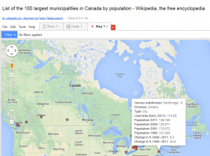 List of the 100 largest municipalities in Canada by population - Wikipedia, the free encyclopedia - Google Fusion Tables 2014-04-08 09-47-52