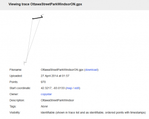OpenStreetMap - Viewing trace OttawaStreetParkWindsorON.gpx 2014-04-26 22-36-16
